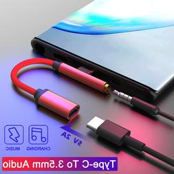 2 In 1 USB Type C to 3.5mm Jack Adapter Headphone Charger Sp