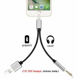 2in1 3.5mm Headphone Jack Adapter Audio Charger Charging Cab