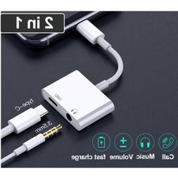 US 2in1 USB Type C To 3.5mm AUX Audio Headphone Jack & Charg