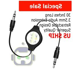 3.5mm Retractable Audio Extension Cable Stereo Headphone Mal