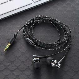 Black In-Ear Earbuds Stereo Tangle Free Braided Cable Cord Q