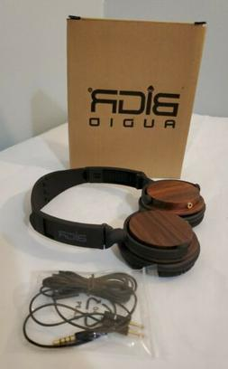 BiGR AUDIO Headphones Wood Wired w mic. Comfortable, soft on