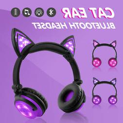 For kids Cat Ear Bluetooth Headphones Audio Wireless LED Mic
