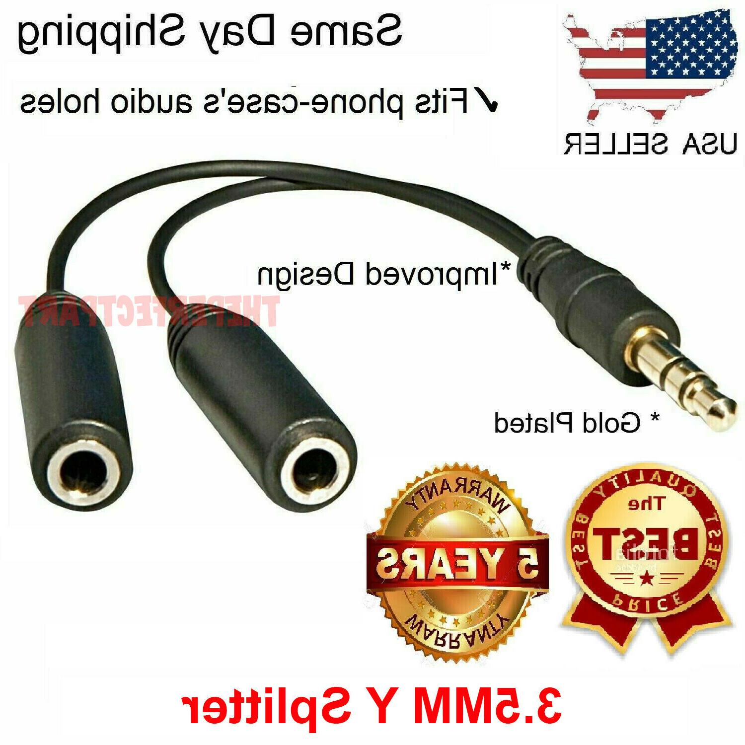 "6"" 1 Male to 2 Female Gold Plated 3.5mm Audio Y Splitter Hea"