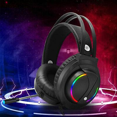 Gaming RGB Surround Sound Mic 7.1 Headphones W/Cable