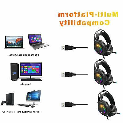 Gaming RGB Sound Headphones W/Cable Laptop
