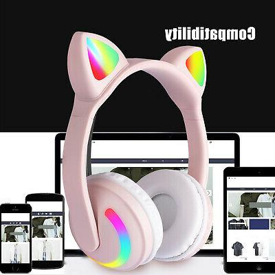 Cat Bluetooth Audio Wireless LED Headsets For Girls