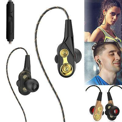 Heavy Bass Earbuds Headphones Wired HIFI Sound Dual Driver E