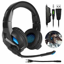 LED Stereo Audio Gaming Headset w/Mic Noise Cancelling Headp